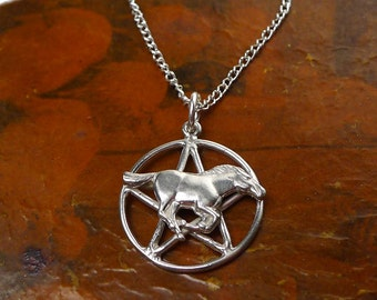 Sterling Silver Horse Pentacle Pendant, Mustang Pentagram Necklace, Pentagram with Horse Pendant Necklace, Wiccan Pagan Epona - SE-0401