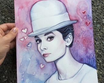 Audrey Hepburn Portrait, ORIGINAL Watercolor Painting, Audrey Art, Love, Audrey Watercolor, Pink Hearts, 9x12