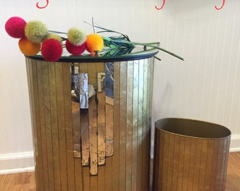 MIIRRORED HAMPER and Waste Paper Basket Gold Veined, Hollywood Regency, Mid Century, Hollywood Glam at Ageless Alchemy