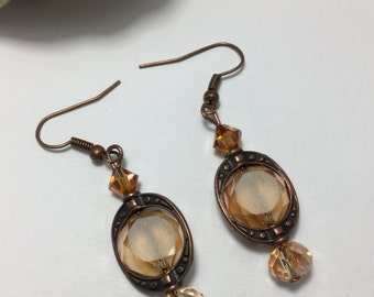 Free Shipping - Connection - Amber Earrings/Amber Glass Crystal Earrings/Swarovski Crystal Amber Earrings/Amber Crystal Earrings