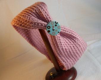 Pink Ear Warmer, Winter Headband, Women's Chunky Head Wrap