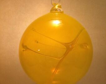 Beautiful Yellow Blown Glass Witch Ball