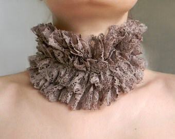 Taupe High Collar Edwardian Queen collar Textile necklace, Lace collar, Ruff Collar, Neck Ruffle, Floral Lace Fabric Choker, Neck Ruff