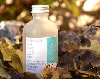 Organic Vanilla Pine Tobacco Body Oil, Sensuous Body Oil, Sweet Massage Oil, Woodsy Pine Vanilla Body Oil