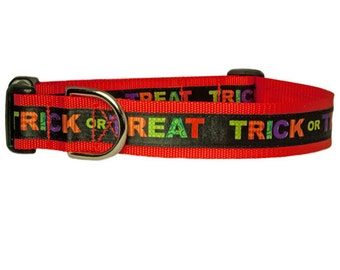 "Halloween Trick or Treat Orange or Black Dog Collar 5/8"", 3/4"" or 1"" collar"