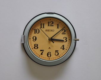 "8.5"" diameter Vintage Japanese Ship Clock from Seiko. Robin's egg blue. Kitchen Clock. Wall Clock. Industrial.   Made in Japan. 1190"