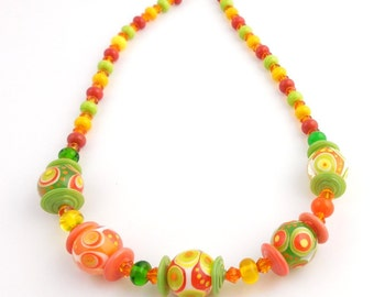 Orange and Green Citrus Beaded Crystal Lampwork Necklace, Lampwork Jewelry, Statement Necklace, Fashion Jewelry, Gifts