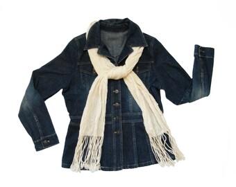 Winter White Scarf, Silk & Merino Wool Scarf, Cream Scarf Handwoven, Hand Woven Scarf Silk, Winter Scarf Wool, Ladies Scarf Women Mens Scarf
