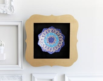 Traditional Persian Minakari wall art decor- shadow box wall decor- decorative blue gold black framed traditional wall hanging