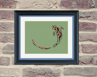 Counted Cross Stitch Pattern - Zen Koi Fish - Minimalist - PDF Instant Digital Download