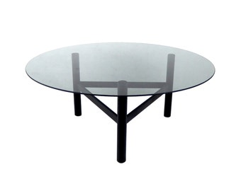 Mid Century Modern Coffee Table Round Glass Coffee Table Black Smoked Glass Metal Coffee Table Retro Home Decor Contemporary Mod Furniture