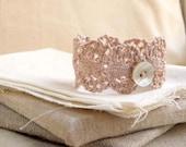 Knitting lace wrist cuff bracelet, pale pink cotton