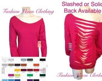 Fashion Vixen Slashed Back Off the Shoulder Long Sleeve Sweatshirt -Multiple Colors Available S M L XL Plus Size 1x 2x 3x 4x 5x