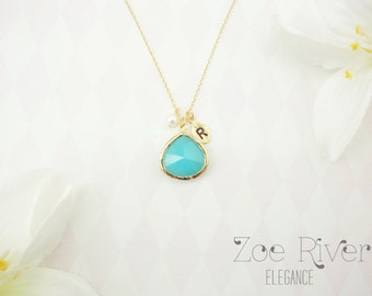Personalized turquoise green and silver or gold necklace. Turquoise initial necklace