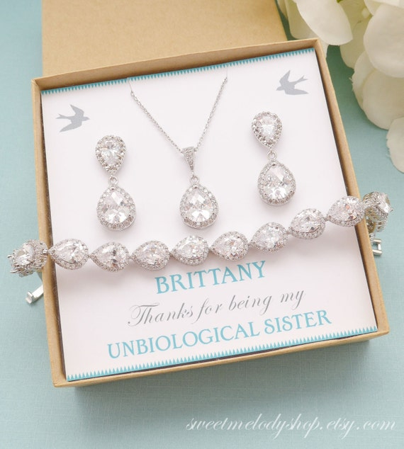 Personalised Wedding Jewellery Gifts : Gift, Bridal Earrings and Necklace Set, Wedding Bracelet Jewelry ...