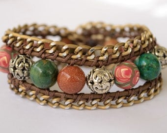 Leather and chain wrap bracelet with a bead combination in gorgeous earthy tones