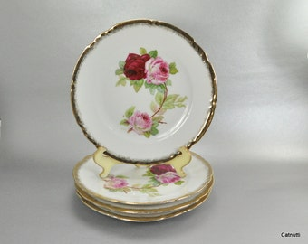 Vintage Germany Pink Red Roses Salad Plates Set of 4 Gold Scallop Trim Rim