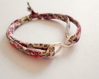 infinity bracelet - silver infinity bracelet - infinite bracelet - infinity charm - infinity symbol -  liberty bracelet - tissu