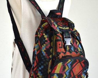 Everyday Hippie Backpack Boho Book Bag Messenger Bag Handmade, Black