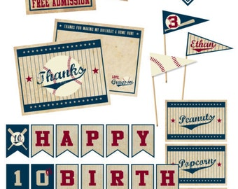 Vintage Baseball Digital Party Pack