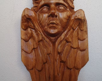 Hand carved wood Cherub - Wood Angel - Red Elm wood Cherub - Wood sculpture - Wall decoration - Wood wall art - Angel artwork - Wood carving