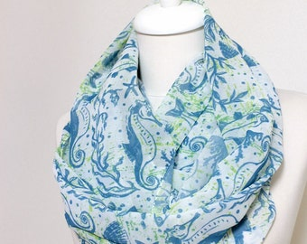 Sea Horse, Fish, Mussel Pattern Infinity scarf, Circle scarf, Loop scarf, scarves, spring - summer - fall - winter fashion