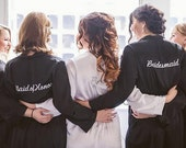 Embroidered Bridal Party Title Robes for Bridesmaids, Bride and Maid of Honor, with Titles SET PACKAGE OF 6