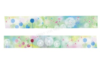 NEW Dandelion Japanese Washi Tape - Soft Beautiful Designer Watercolor Floral  - 15mm x 10m