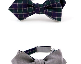 Christmas Bow Tie for Men Self Tie Bow Tie Checkered Bow Tie Green Bow Tie Gray Bow Tie Double Sided Bow Tie Slim Diamond Point Bow Tie Gift