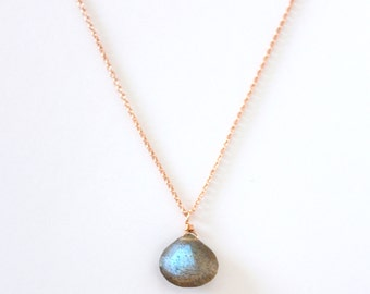 AAA Grade Labradorite Pendant - Rose Gold or Yellow Gold