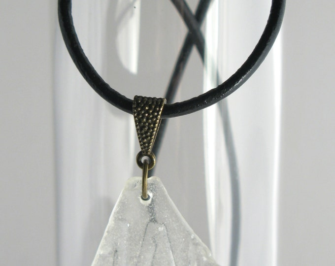 "Embossed with ""MAN,"" This White Sea Glass is on a High Quality Black Leather Necklace with an Antique Brass Bail, Clasp and Findings 24"""