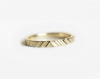 Simple Wedding Ring, Yellow Gold Wedding Band, Textured Gold Ring, Dainty Wedding Ring, Geometric ring, 14k Gold Ring