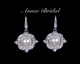 "Bridal jewelry, wedding, White pearl and rhinestone earrings, silver, ""Pearl Elegance"" earrings"