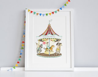 Carousel Art, UNFRAMED Fun Fair Picture, Circus Animal, Children's Print, Unisex, Circus Theme, Room decor. We can add a Name and date!