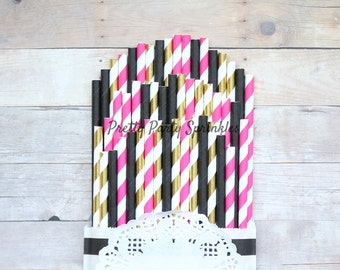 Hot Pink, Solid Black, Gold Foil Striped Straws, Kate Spade Bridal Shower, Photo Prop, Pink First Birthday, Sleeping Beauty Baby Shower Idea