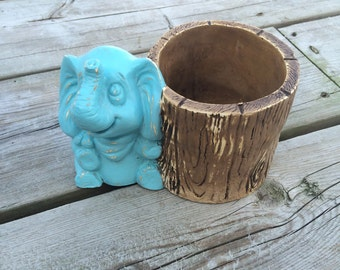 Unique Shabby Chic Elephant Candle Holder, Rustic Distressed