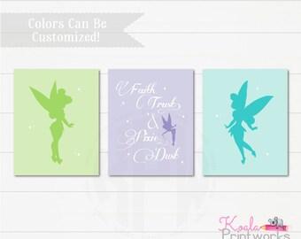 Tinkerbell Inspired Fairy Art Print Set - Fairy Wall Art - Peter Pan - Fairy Princess - Pixie Dust - Faith, Trust & Pixie Dust