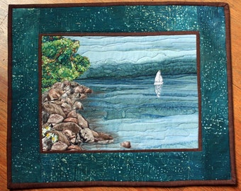 Quilted Wall Art, Original Landscape Quilt, Lake Superior Wallhanging, Blue Water, Sailboat, Rocks, Shore, Handmade Fiber Art, Wall Hanging
