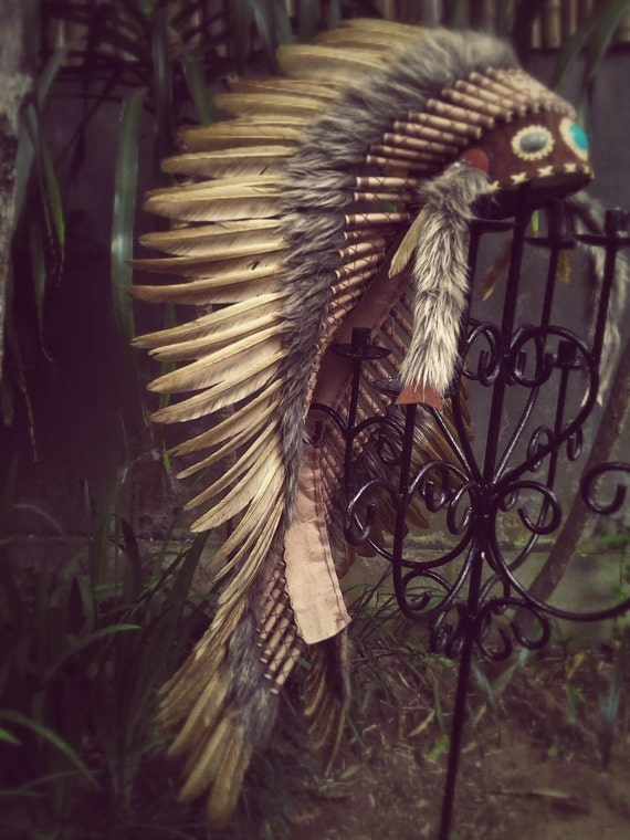 Extra Large Brown  Feather Headdress  (43 inch long ), Native American Style