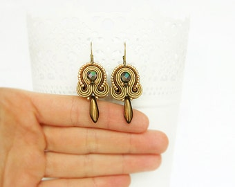 Brown soutache earrings, hazel beaded earrings, brown drop earrings, brown dangle earrings, soutache jewelry, small brown earrings