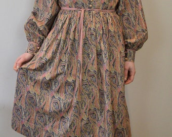 1970s  liberty print shirt dress by Origin paisley retro tea dress size S uk  8 10 12 us 4 6 8 flower child 60s 70s hippy boho folk dress