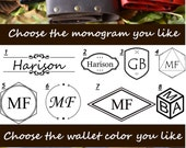 Monogram Customization Wallet with rivets Groomsmen gift Gift for women men Genuine leather Christmas gift