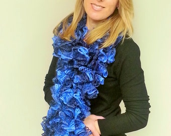 Crocheted Blue Ruffle Scarf