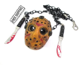 Jason Voorhees mask necklace Friday the 13th horror movie scary jewelry horror jewelry blood splatter necklace halloween costume psychobilly