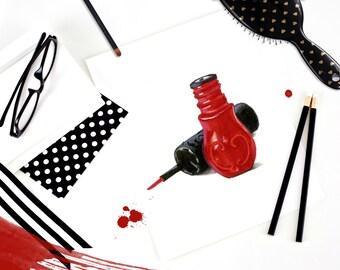 Instant Download Makeup Illustration, Printable Fashion Art, Chic Wall Art, Clip Art, Printable Fashion Illustration, Anna Sui Lip Gloss