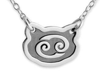 Two-Tone Zodiac Sign Cancer Horoscope Pendant Necklace #925 Sterling Silver #Azaggi N0243S_can