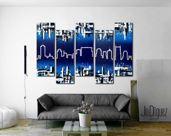 Nashville Wall Art original paris skyline painting. 5 piece canvas art.