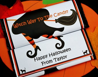 12 Hershey Bars With Halloween Candy Bar Wrapper Personalized Candy Wrappers ~ Kids Halloween Party Favor ~ Trick  Or Treat Bag ~ Candy Bags