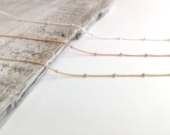 Satellite Chain Necklace, 14k Gold Filled Satellite Necklace, Sterling Silver Satellite Necklace, Rose Gold Filled Satellite Chain Necklace