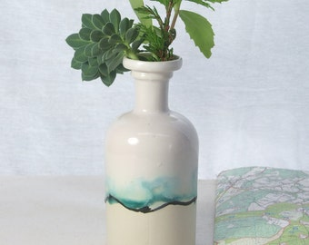 Chemistry gift ceramic bud vase with landscape painting in glazes. Bud vase or ceramic vase with watercolour painting. White Christmas gift.